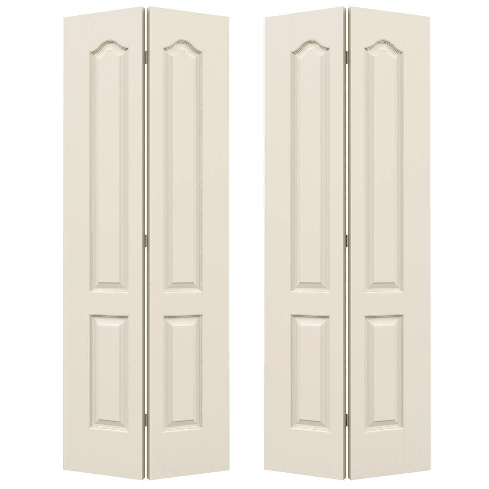 JELD-WEN 72 in. x 80 in. Smooth 2-Panel Arch Top Hollow Core Molded Interior Closet Bi-fold Door