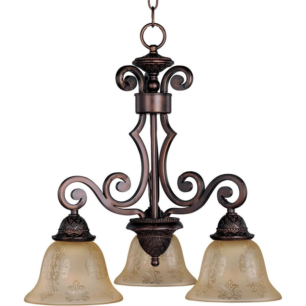 Illumine 3-Light 22 in. Mini Chandelier Oil Rubbed Bronze Finish Screen Amber Glass Shade-DISCONTINUED