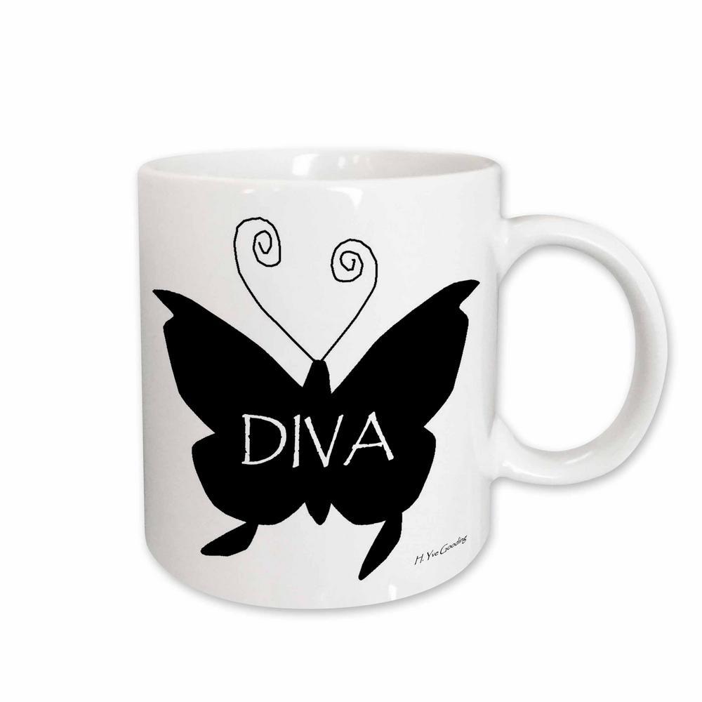 Yves Creations Diva Series 11 oz. White Ceramic Diva Butterfly in Black Mug