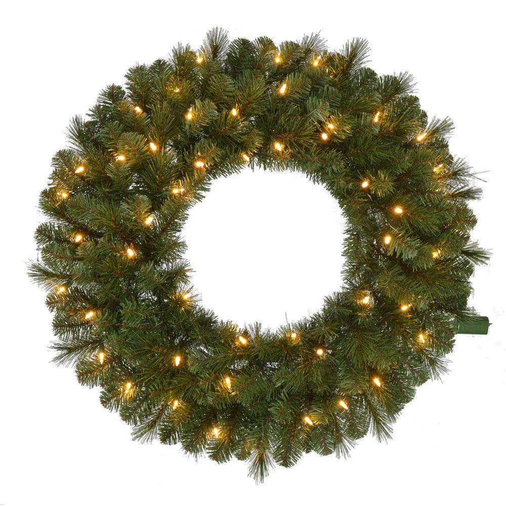 pre lit led wesley pine artificial christmas wreath x 191 tips with - Pre Lit Outdoor Christmas Wreaths