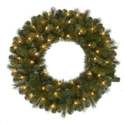 30 in. Wesley Pre-Lit LED Long Needle Pine Artificial Christmas Wreath with 191 tips and 50 Warm White Lights