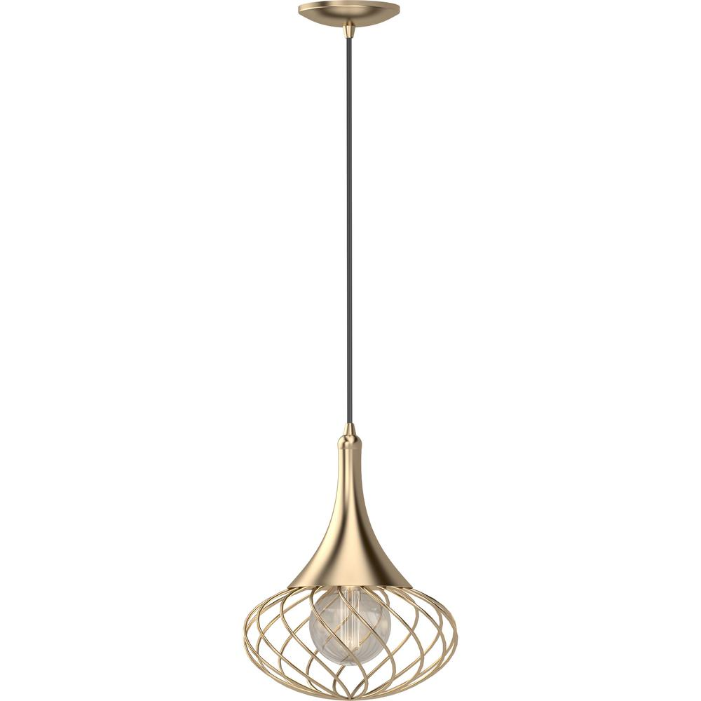 Volume Lighting 1 Light Indoor Antique Gold Hanging Mini Pendant With Oval Caged Wire Sphere V3851 90 The Home Depot