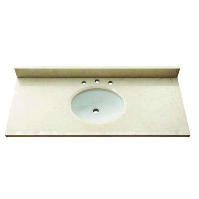 49 in. Marble Stone Vanity Top in Galala Beige without Basin