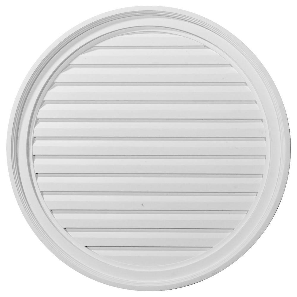 Ekena Millwork 2 in. x 28 in. x 28 in. Decorative Round Gable Louver Vent
