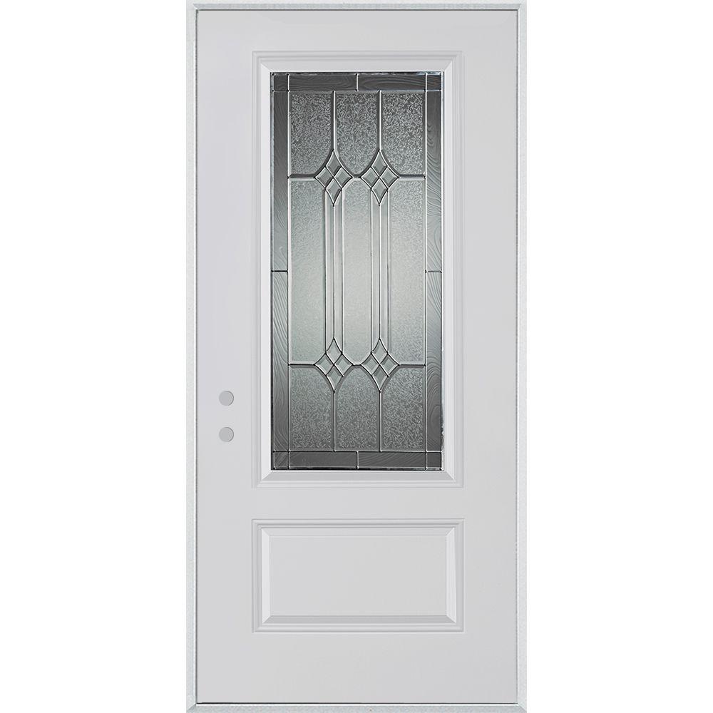 Stanley Doors 33.375 in. x 82.375 in. Orleans Patina 3/4 Lite 1-Panel Painted White Right-Hand Inswing Steel Prehung Front Door