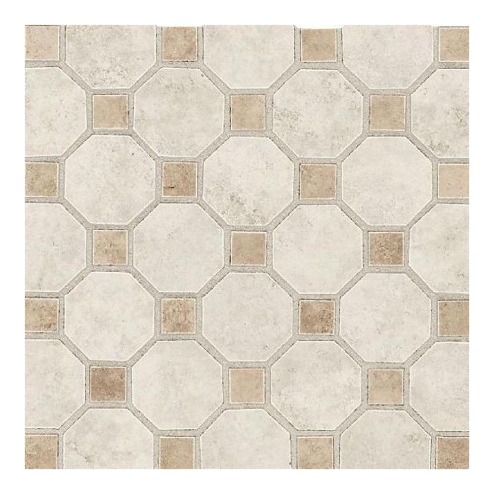 daltile salerno grigio perla 12 in x 12 in x 6 mm ceramic octagon mosaic floor and wall tile. Black Bedroom Furniture Sets. Home Design Ideas