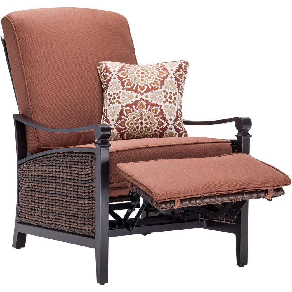 Havana Brown Wicker Outdoor Recliner with Cushions in Bordeaux