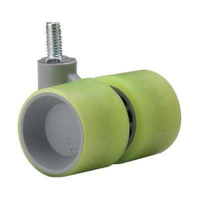 1-9/16 in. Green Swivel Without Brake Threaded Stem Caster, 77.2 lb. Load Rating