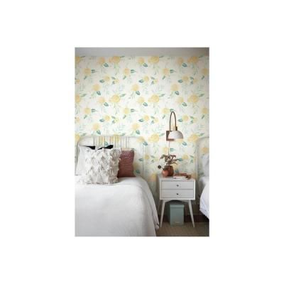 Watercolor Roses Yellow Paper Peelable Roll (Covers 34 sq. ft.)