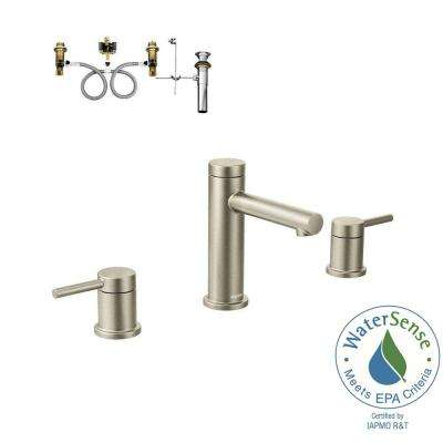 Align 8 in. Widespread 2-Handle Bathroom Faucet Trim Kit with Valve in Brushed Nickel