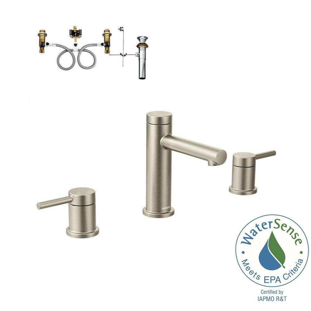 Align 8 in. Widespread 2-Handle Bathroom Faucet Trim Kit with Valve in Brushed Nickel