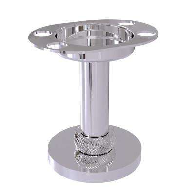 Vanity Top Tumbler and Toothbrush Holder with Twisted Accents in Polished Chrome
