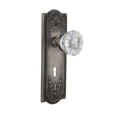 Meadows Plate with Keyhole 2-3/4 in. Backset Antique Pewter Passage Crystal Glass Door Knob