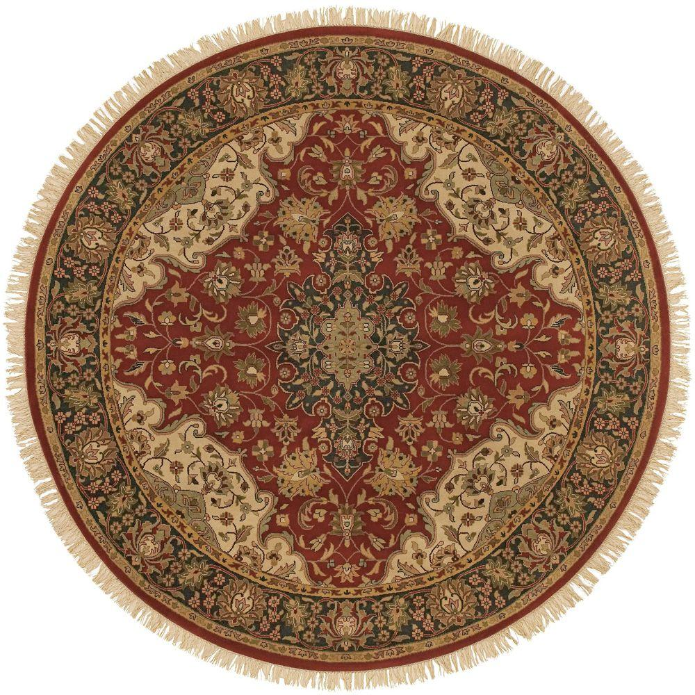 Beverly Burgundy 8 ft. Round Area Rug