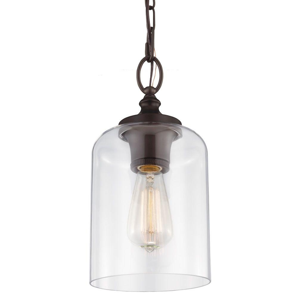 Feiss Hounslow 1 Light Oil Rubbed Bronze Mini Pendant P1310orb The Home Depot
