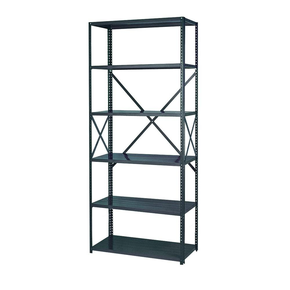 Edsal 85 in. H x 36 in. W x 24 in. D 6-Shelf Steel Commercial Shelving Unit in Gray