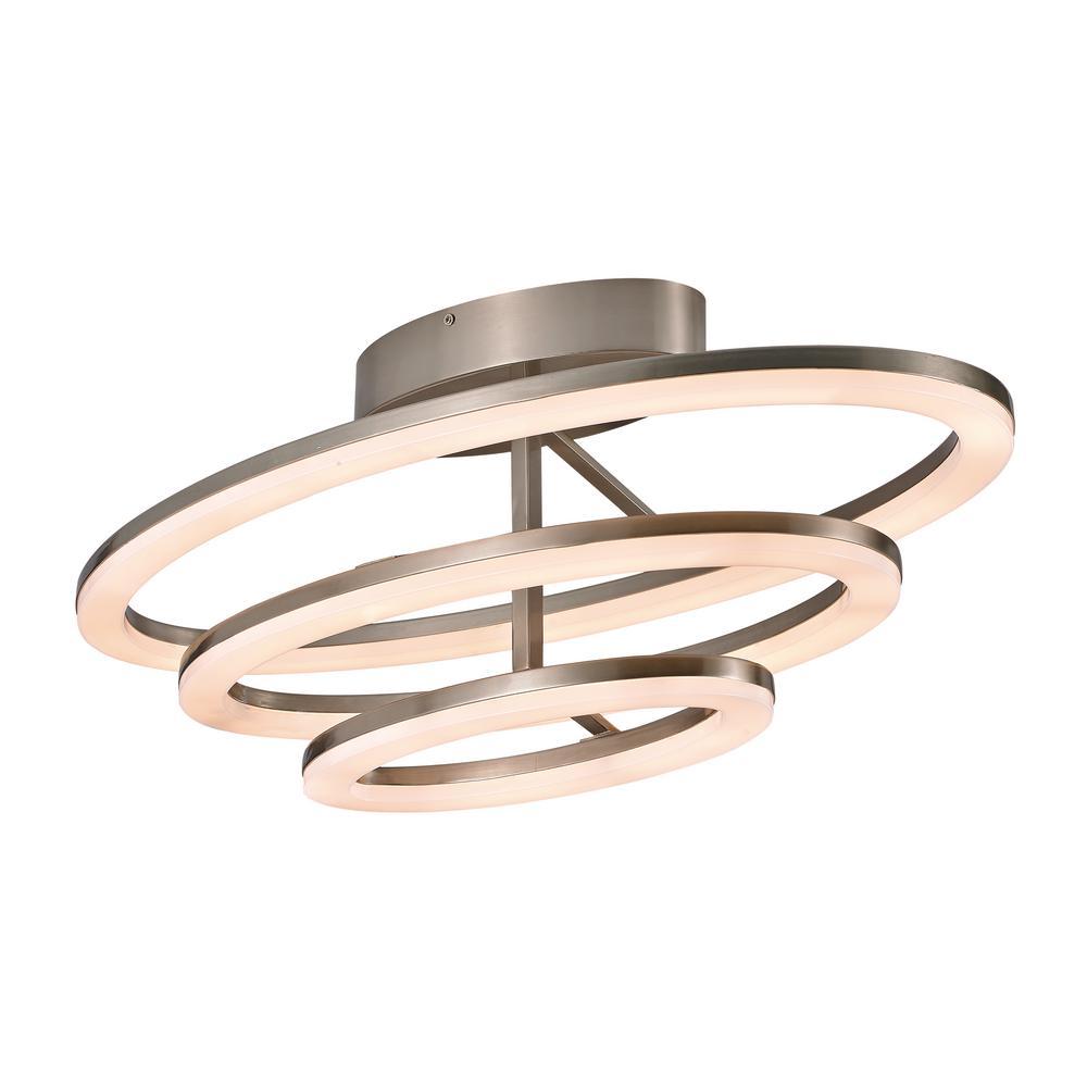 Orbital Ring 3-Light Nickel Indoor Flush Mount
