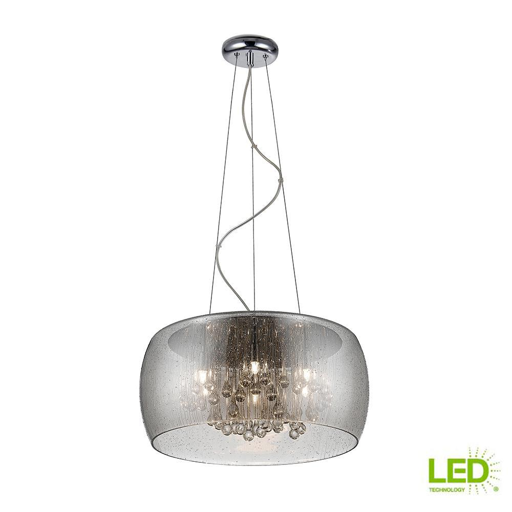 25-Watt Chrome Glass with Clear Glass Beads Integrated LED Pendant