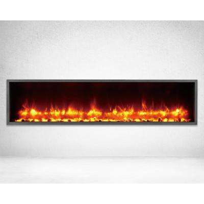 55 in. Built-in LED Electric Fireplace in Black Matt Finish