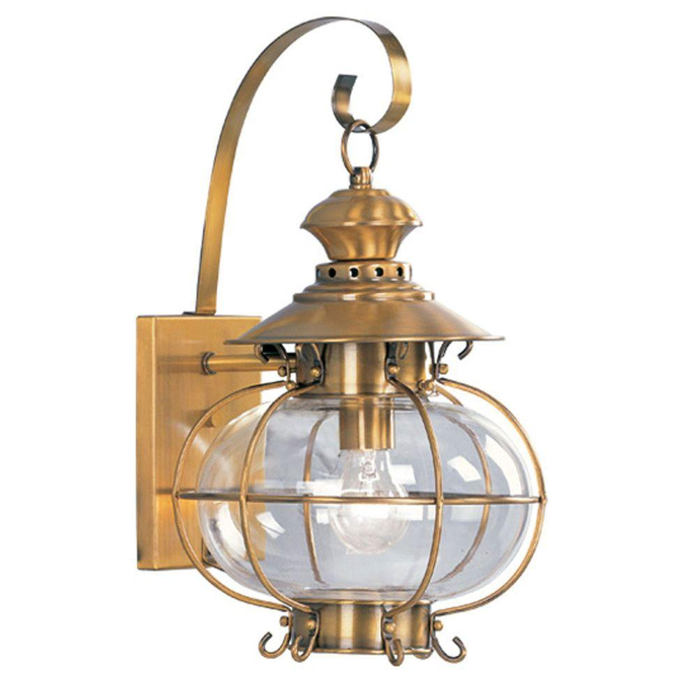 Providence Wall-Mount 1-Light Flemish Brass Outdoor Incandescent Lantern