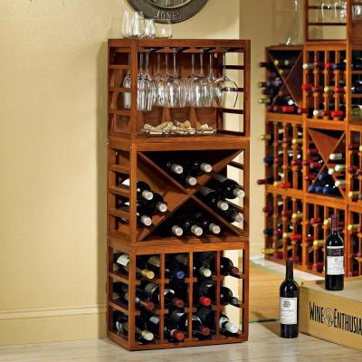 Cube Stack Wine Glass Rack in Walnut Stain