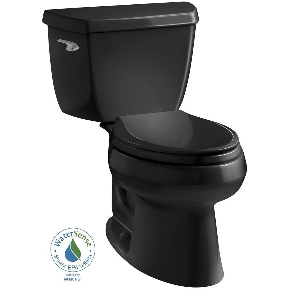 KOHLER Wellworth Classic 2-piece 1.28 GPF Single Flush Elongated Toilet in Black