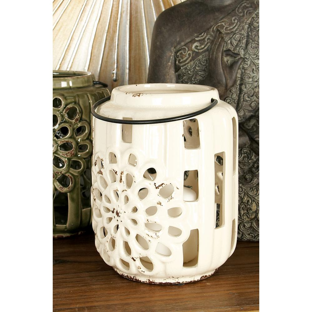 8 in. Ceramic Floral Candle Lanterns in Turquioise, White and Black