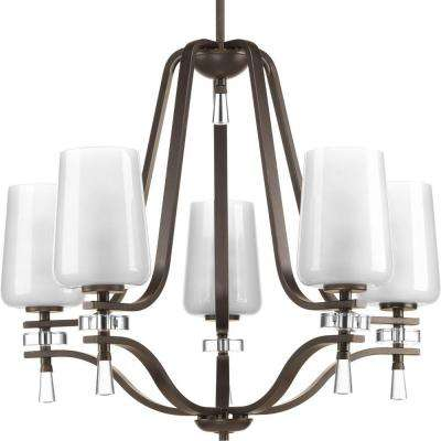 Indulge Collection 5-Light Antique Bronze Chandelier with Polished Glass