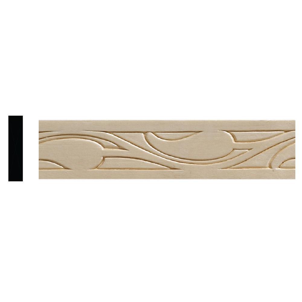 7/32 in. x 1 in. x 96 in. White Hardwood Ivy Moulding