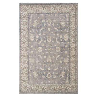 Vintage Mixed Floral Dark Grey 8 ft. x 10 ft. Area Rug