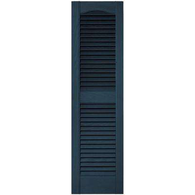 12 in. x 43 in. Louvered Vinyl Exterior Shutters Pair in #036 Classic Blue