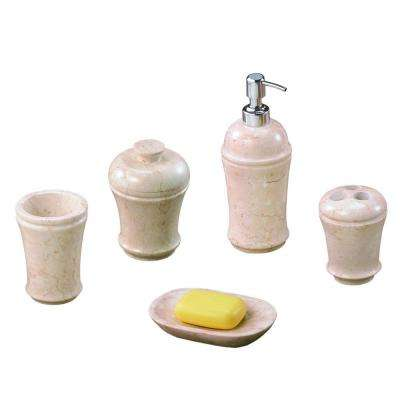 Fluted 5-Piece Bath Set in Champagne Polished Marble
