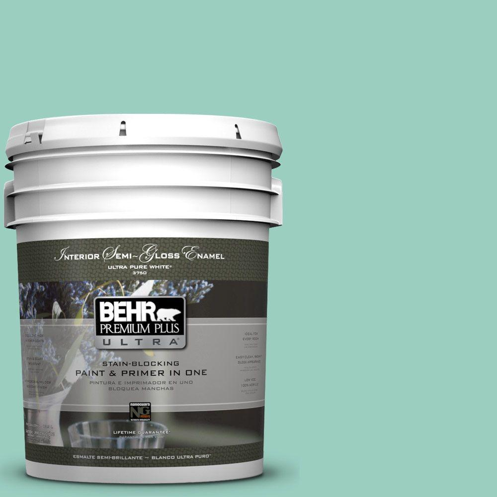 5-gal. #HDC-SM14-6 Thermal Aqua Semi-Gloss Enamel Interior Paint
