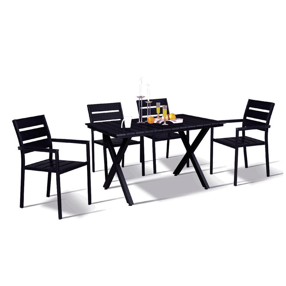 Modern Contemporary Piece Black Metal Rectangular Outdoor Dining - Black rectangular outdoor dining table