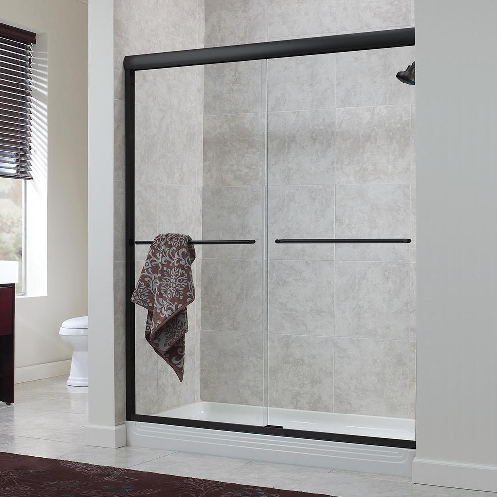 Foremost Cove 48 in. x 72 in. H Semi-Framed Sliding Shower Door in ...