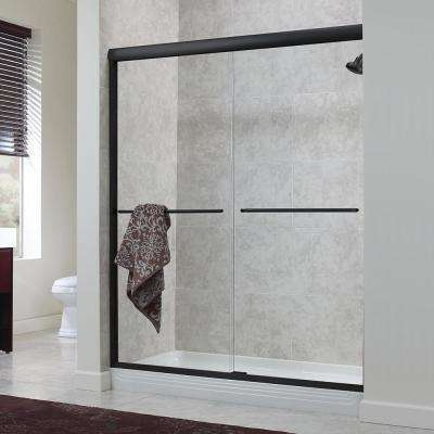 Cove 48 in. x 72 in. H Semi-Framed Sliding Shower Door in Oil Rubbed Bronze with 1/4 in. Clear Glass