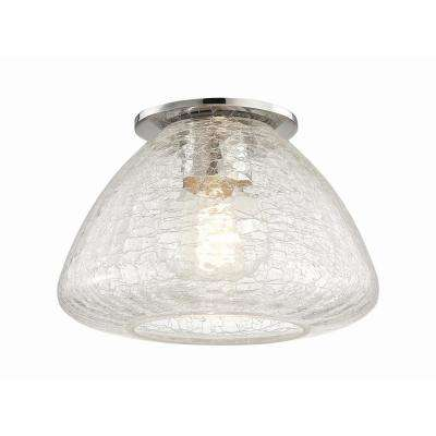 Maya 1-Light 9 in. W Polished Nickel Flushmount with Clear Crackle Glass Shade