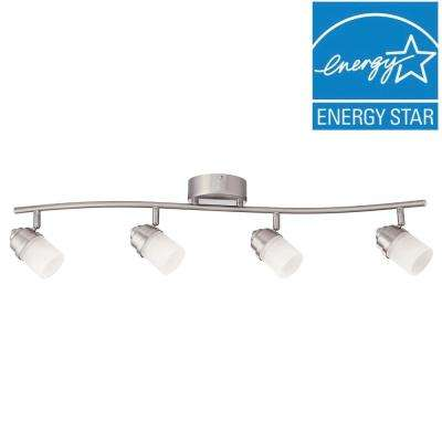 3 ft. Brushed Nickel LED Track Lighting Kit with 4 LED Track Lights