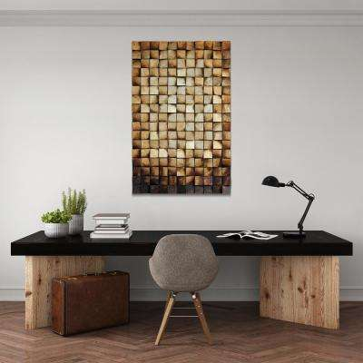 """48 in. x 30 in. """"Textured 1"""" Mixed Media Wooden Hand Painted Dimensional Wall Art"""