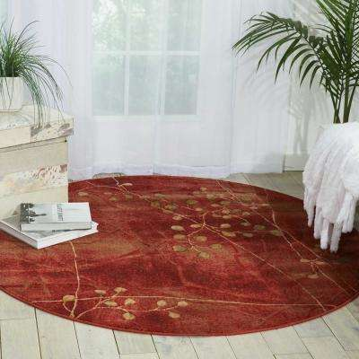 Red 6 Round Area Rugs Rugs The Home Depot