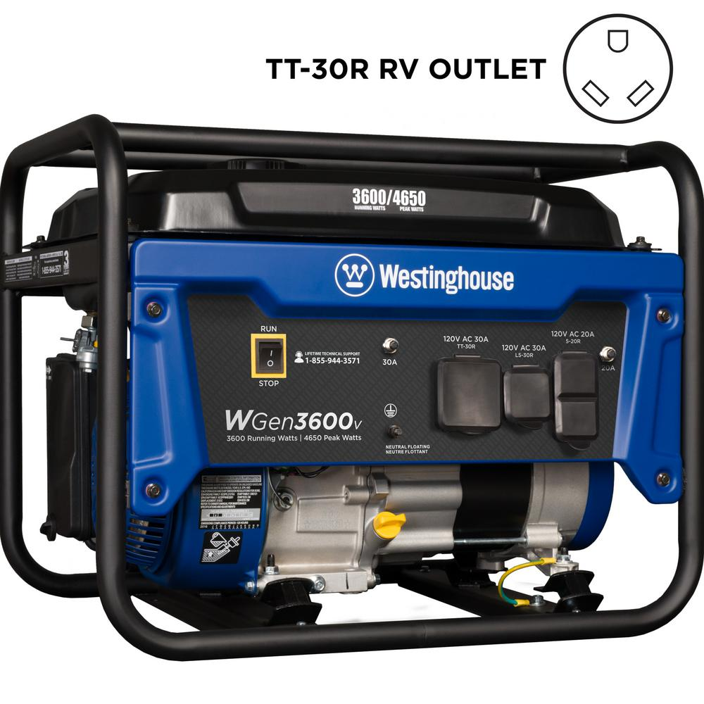 WGen 3,600-Watt Gasoline Powered Portable Generator with RV Ready TT-30R 30 Amp Receptacle