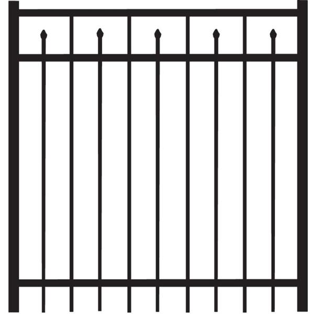 Brilliance Standard-Duty 4 ft. W x 4 ft. H Black Aluminum Straight Pre-Assembled Fence Gate