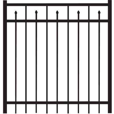 Brilliance Standard-Duty 4 ft. W x 4 ft. H Black Aluminum Straight Pre-Assembled Fence Gate