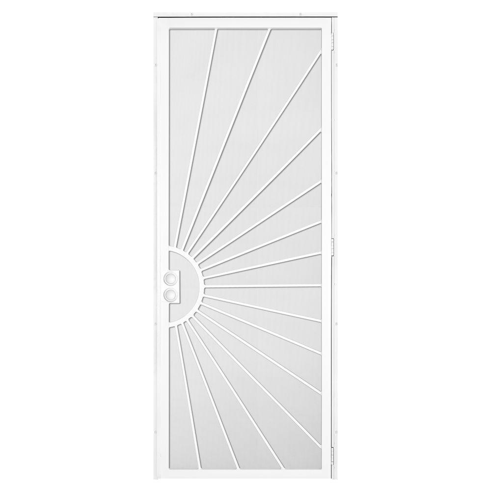 Unique Home Designs 36 in. x 96 in. Solana White Surface Mount Right ...