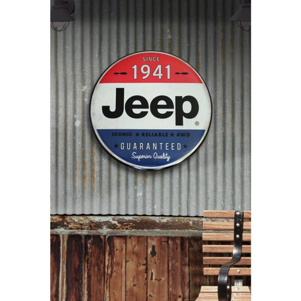 Jeep 24 In X 24 In Jeep Hollow Curved Tin Button Sign