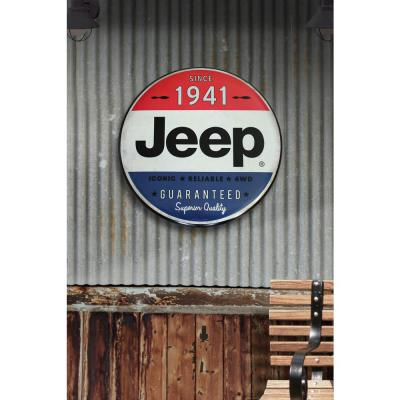 24 in. x 24 in. Jeep Hollow Curved Tin Button Sign Wall Art