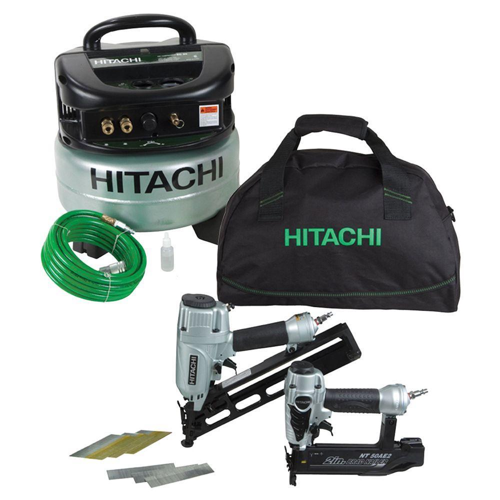 Hitachi Compressor Combo Kit 2-1/2 in.15GA Angle Finish Nailer,2 in.18GA Finish Nailer, Air Hose, Fasteners and Bag-DISCONTINUED