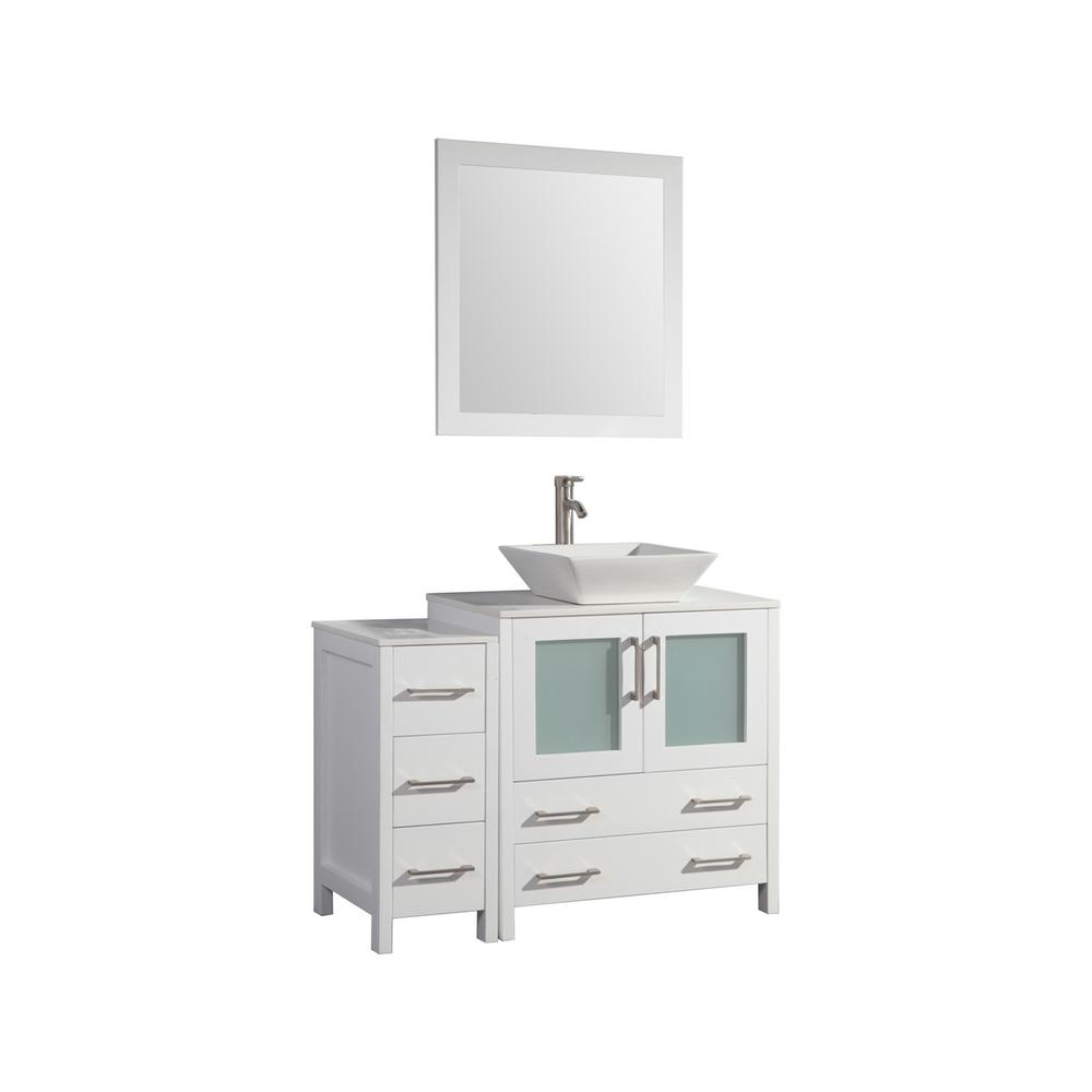 Vanity Art 42 in. W x 18.5 in. D x 36 in. H Bathroom Vanity in White with Single Basin Vanity Top in White Ceramic and Mirror