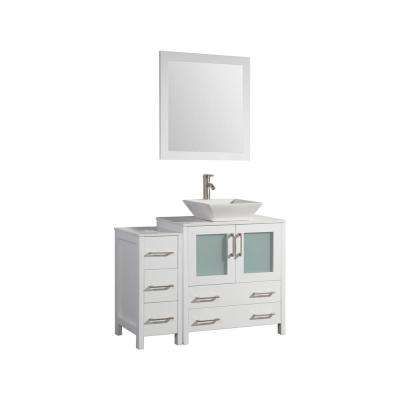 42 in. W x 18.5 in. D x 36 in. H Bathroom Vanity in White with Single Basin Vanity Top in White Ceramic and Mirror