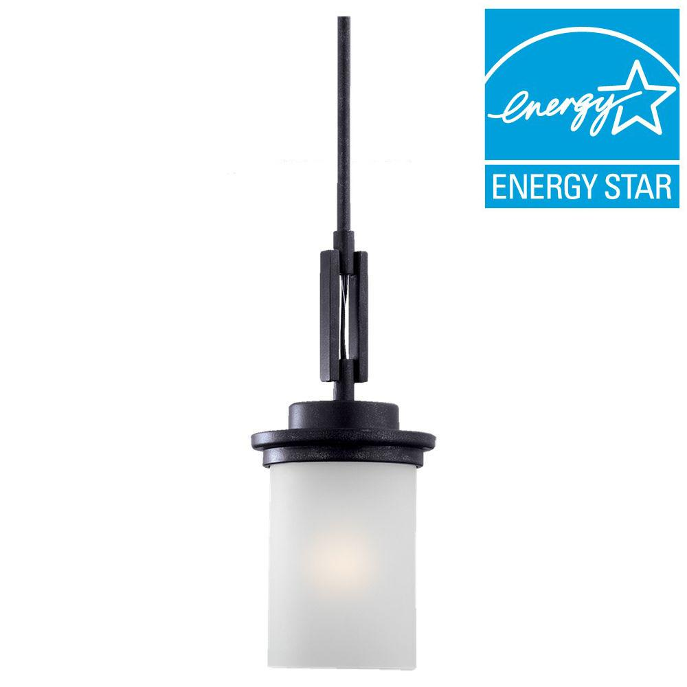 Sea Gull Lighting Winnetka 1-Light Blacksmith Fluorescent Mini Pendant with Satin Etched Glass